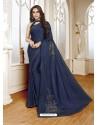 Dark Blue Mesmeric Designer Classic Wear Satin Sari