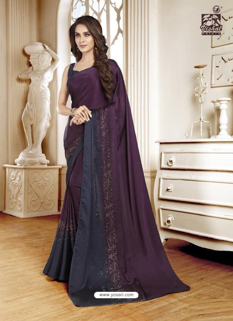 Purple Mesmeric Designer Classic Wear Satin Sari