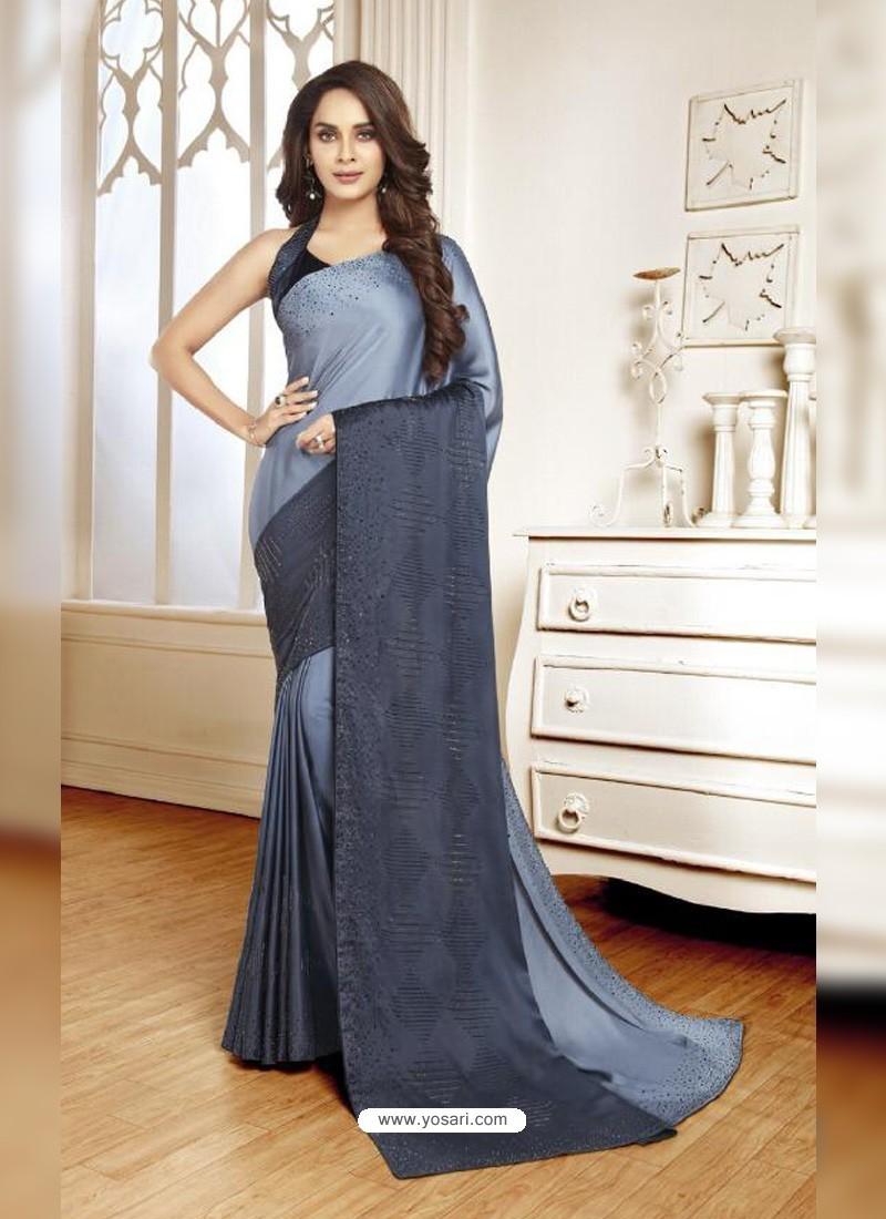 Aqua Grey Mesmeric Designer Classic Wear Satin Sari