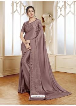 Old Rose Mesmeric Designer Classic Wear Satin Sari