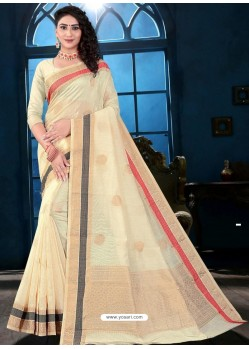 Off White Latest Designer Classic Wear Linen Sari