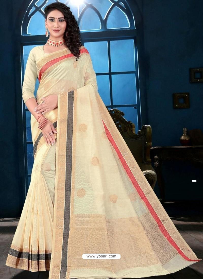 Off White Latest Designer Classic Wear Linen Sari