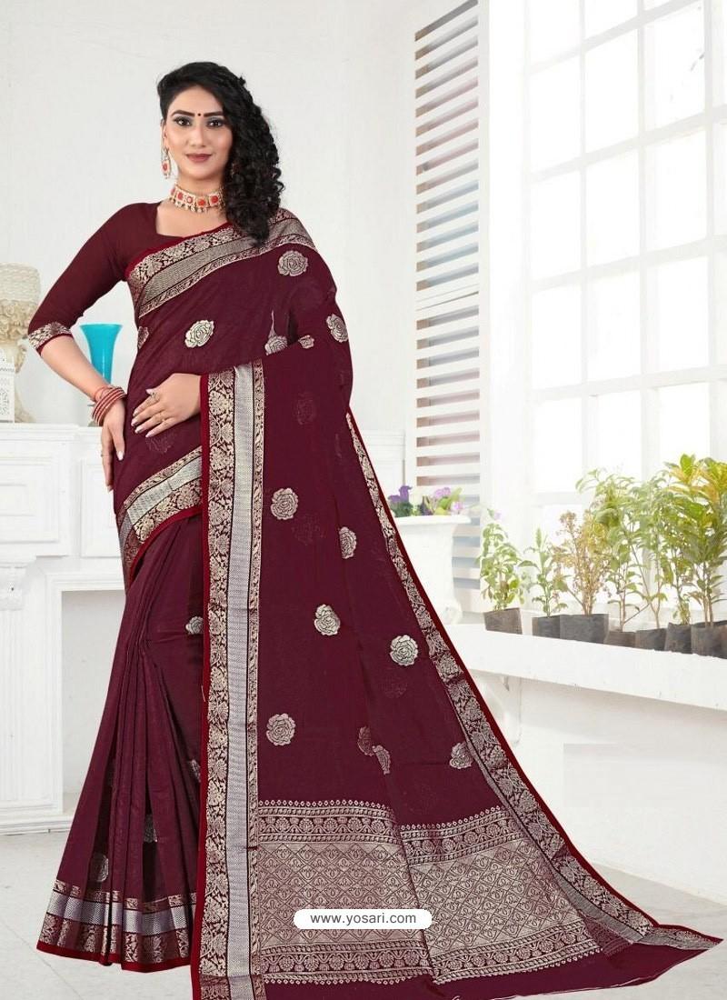 Maroon Latest Designer Classic Wear Linen Sari