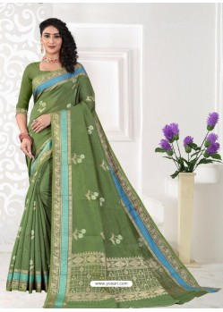 Green Latest Designer Classic Wear Linen Sari