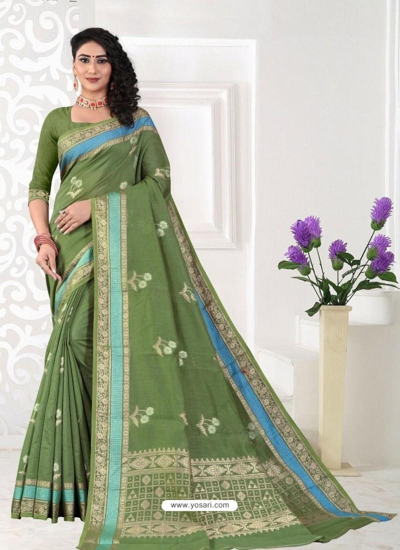Green Latest Designer Classic Wear Linen Sari