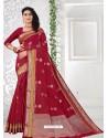 Red Latest Designer Classic Wear Linen Sari
