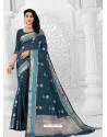 Teal Blue Latest Designer Classic Wear Linen Sari