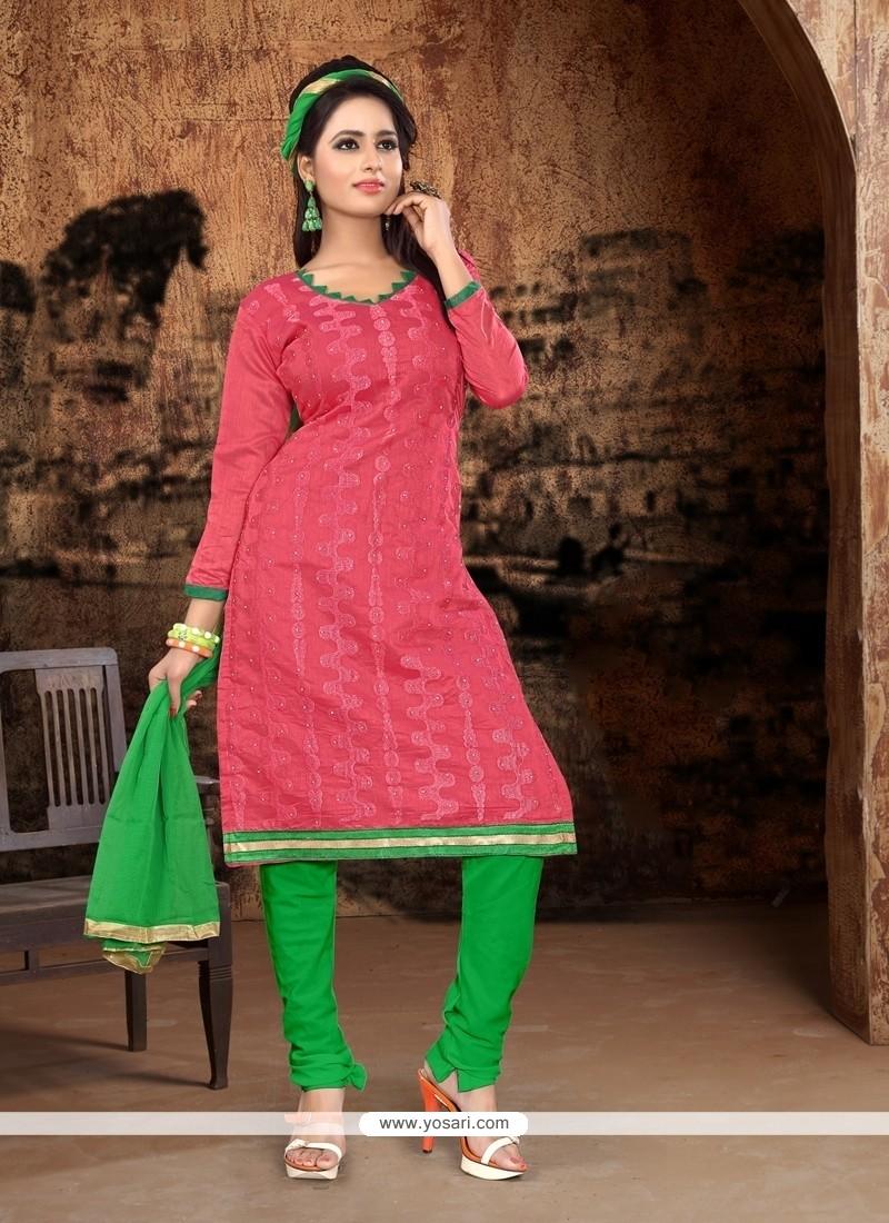 Affectionate Pink Churidar Designer Suit