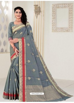 Grey Latest Designer Classic Wear Linen Sari