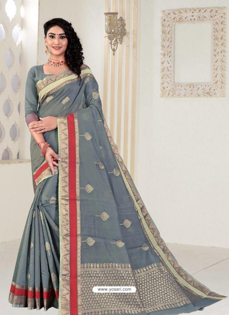 Grey Latest Designer Classic Wear Linen Sari
