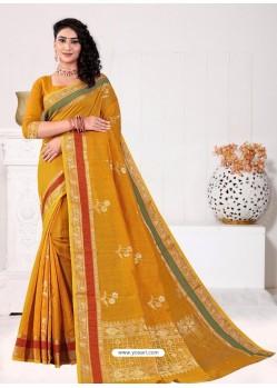 Mustard Latest Designer Classic Wear Linen Sari