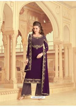 Purple Scintillating Faux Georgette Wedding Salwar Suit
