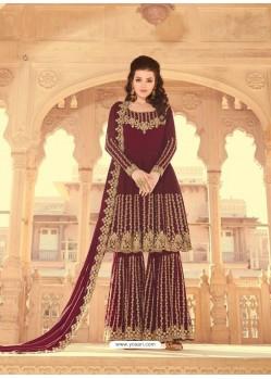 Maroon Scintillating Faux Georgette Wedding Salwar Suit