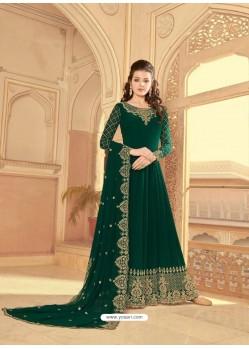 Dark Green Scintillating Faux Georgette Wedding Salwar Suit