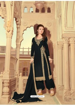Black Scintillating Faux Georgette Wedding Salwar Suit