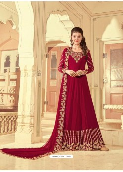 Maroon Scintillating Faux Georgette Wedding Salwar Suit