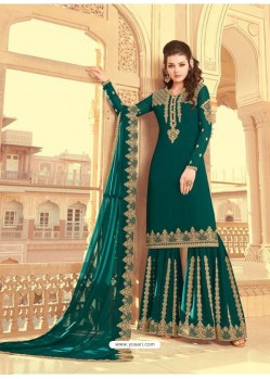 Teal Scintillating Faux Georgette Wedding Salwar Suit
