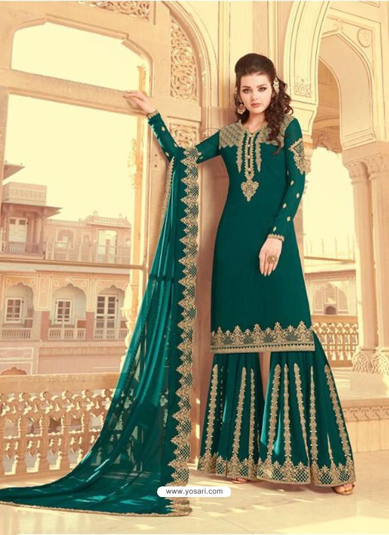 Teal Scintillating Faux Georgette Wedding Salwar Suit