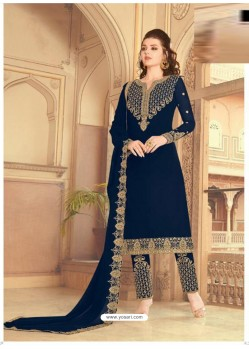 Royal Blue Scintillating Faux Georgette Wedding Salwar Suit