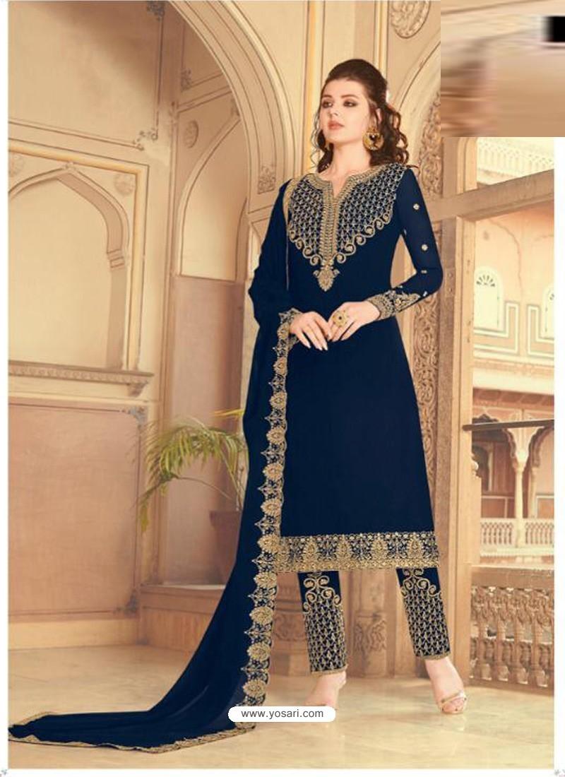 Royal Blue Scintillating Faux Georgette Wedding Salwar Suit