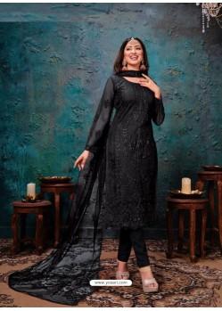 Black Designer Party Wear Net Straight Salwar Suit