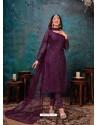 Purple Designer Party Wear Net Straight Salwar Suit