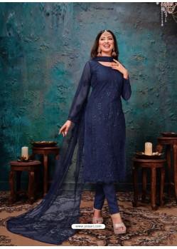 Dark Blue Designer Party Wear Net Straight Salwar Suit