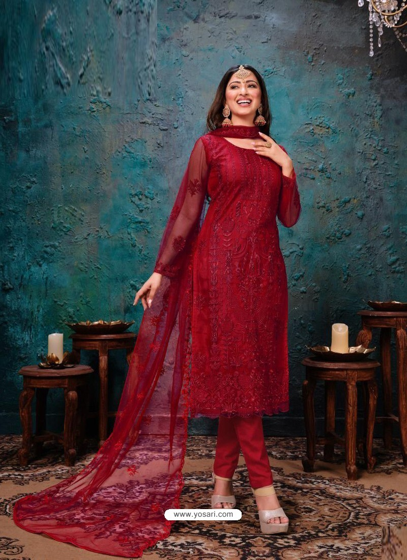 Crimson Designer Party Wear Net Straight Salwar Suit