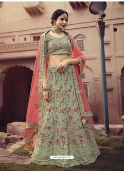 Pista Green Scintillating Designer Heavy Wedding Wear Lehenga
