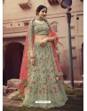 Pista Green Scintillating Designer Heavy Wedding Wear Lehenga