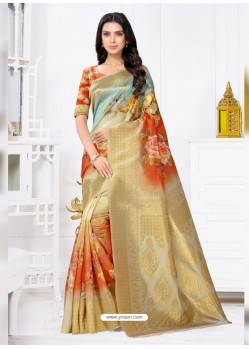 Multi Colour Latest Party Wear Designer Banarasi Jacquard Sari