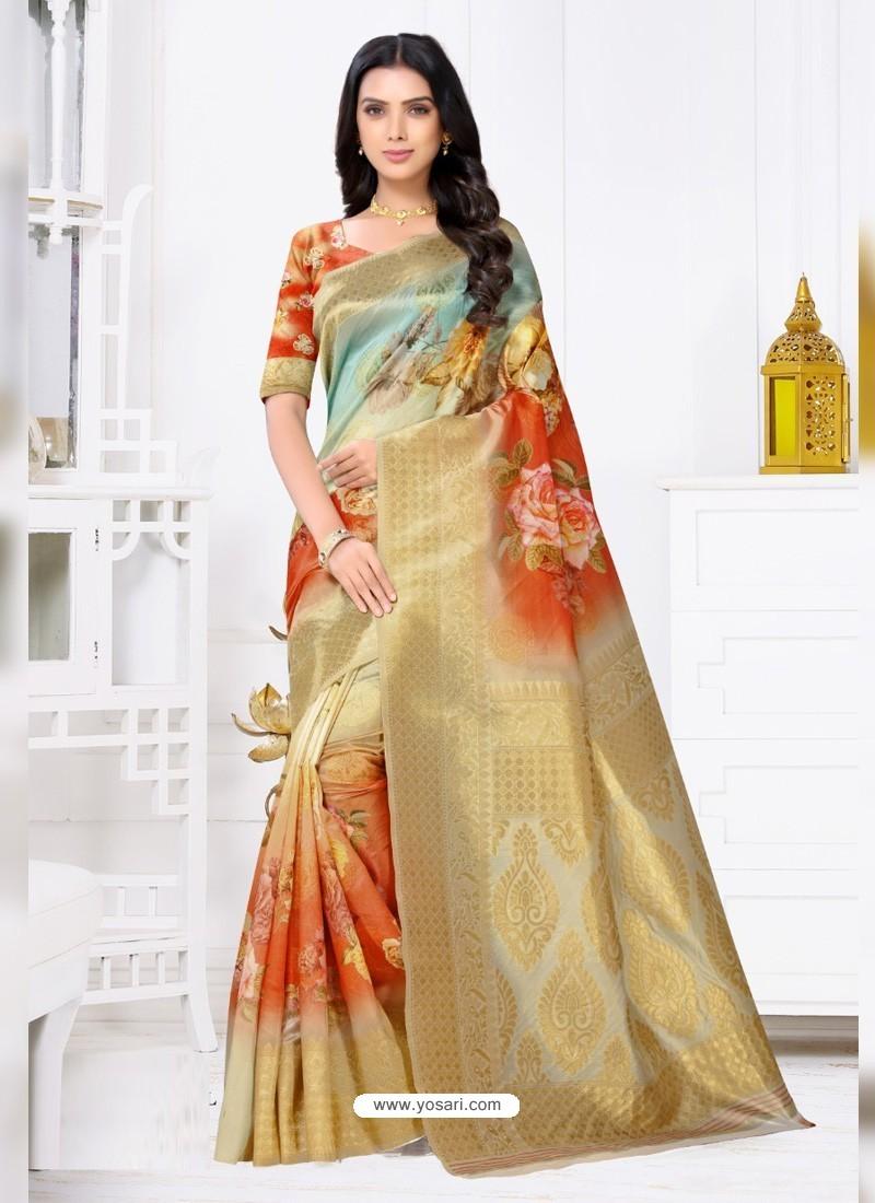 Multi Colour Latest Party Wear Designer Banarasi Jacquard Sari