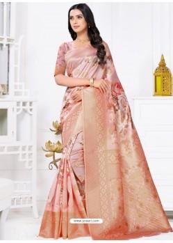 Dusty Pink Latest Party Wear Designer Banarasi Jacquard Sari