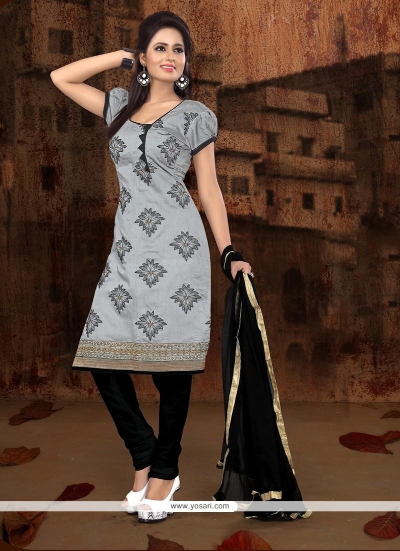 Debonair Grey Embroidered Work Churidar Designer Suit