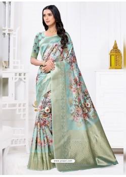 Sky Blue Latest Party Wear Designer Banarasi Jacquard Sari
