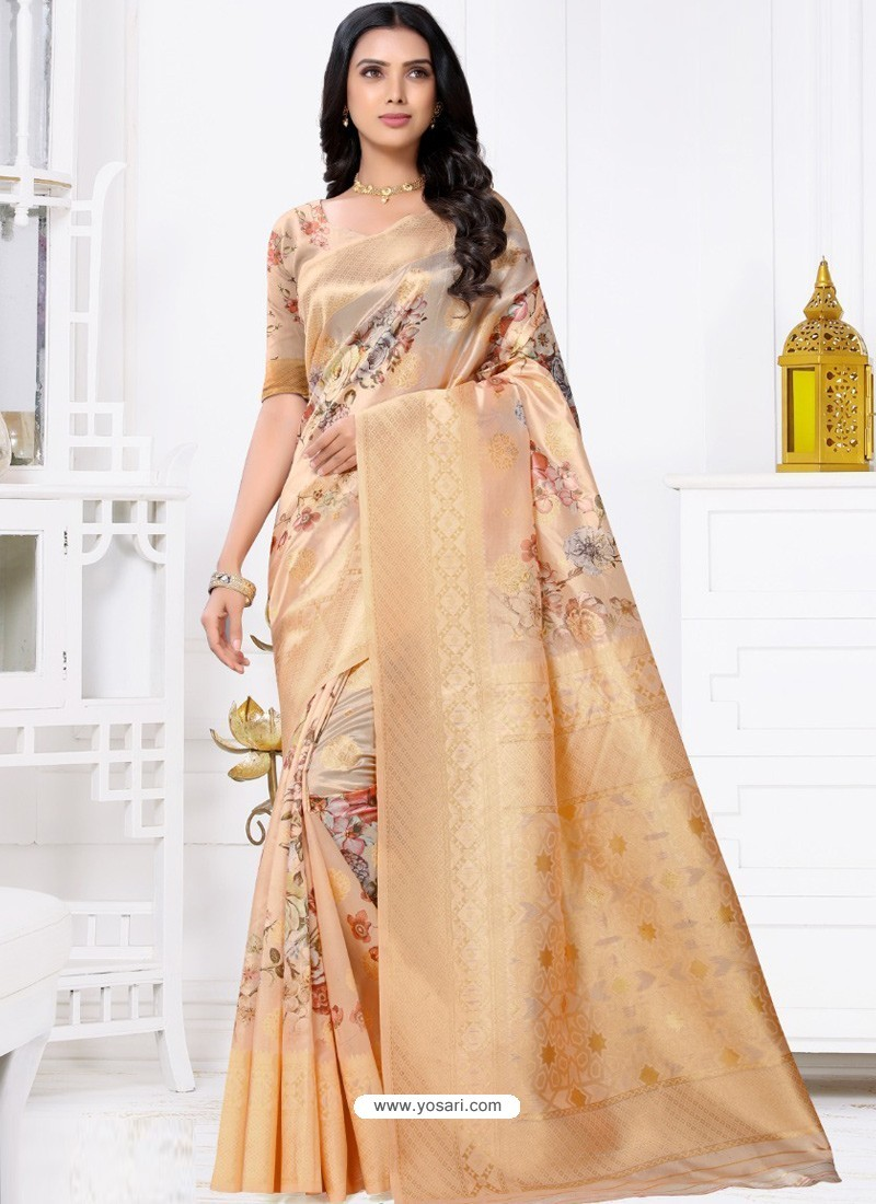 Light Orange Latest Party Wear Designer Banarasi Jacquard Sari