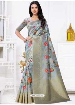 Aqua Grey Latest Party Wear Designer Banarasi Jacquard Sari