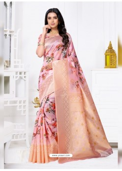 Pink Latest Party Wear Designer Banarasi Jacquard Sari