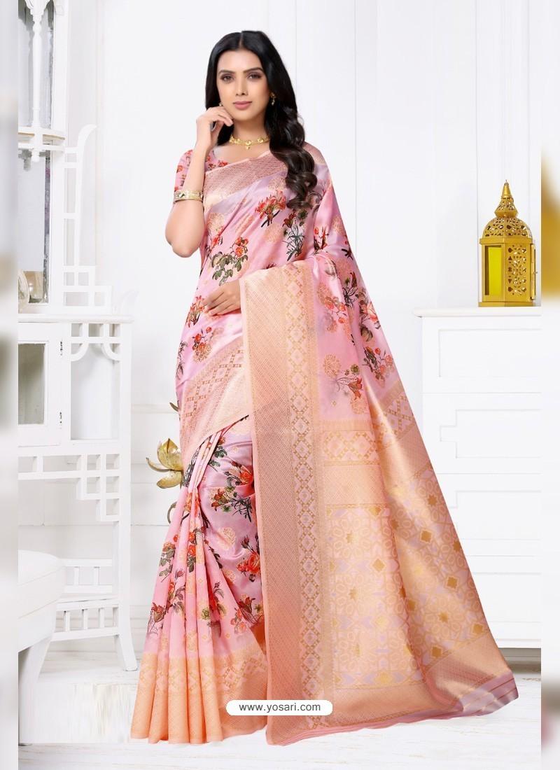 Pink Latest Party Wear Designer Banarasi Jacquard Sari