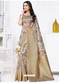 Light Grey Latest Party Wear Designer Banarasi Jacquard Sari