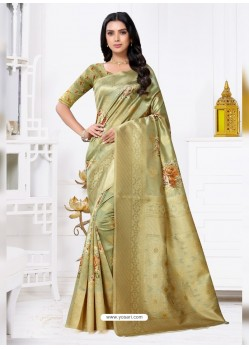 Green Latest Party Wear Designer Banarasi Jacquard Sari