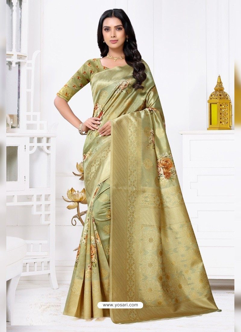 Green Latest Party Wear Designer Banarasi Jacquard Sari