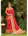 Dark Peach Latest Party Wear Designer Silk Sari