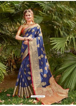 Dark Blue Latest Party Wear Designer Silk Sari