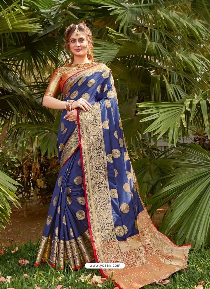 Dark Blue Latest Party Wear Designer Silk Sari