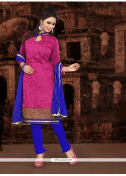 Invaluable Embroidered Work Hot Pink Churidar Designer Suit