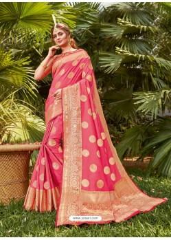 Light Red Latest Party Wear Designer Silk Sari