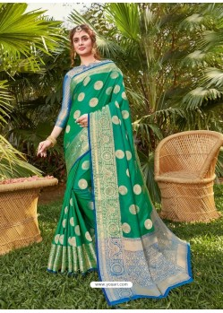Jade Green Latest Party Wear Designer Silk Sari