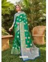 Jade Green Latest Party Wear Designer Silk Sari
