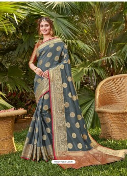 Grey Latest Party Wear Designer Silk Sari